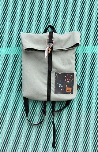 Street bag menta con bolsillo terrazo colores