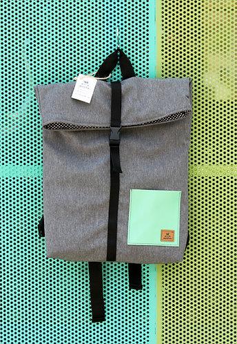 Street bag gris bolsillo celeste