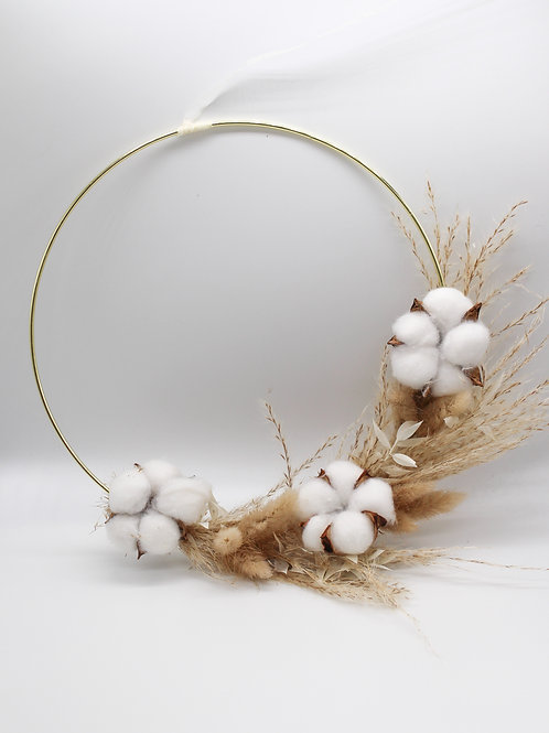 "Dried Flower Hoop ""Fancy Cotton"""