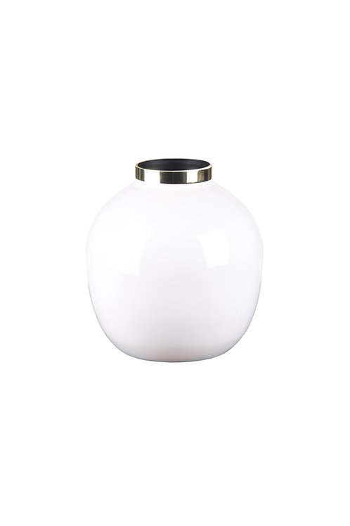 Vase Saigon bauchig weiß/gold