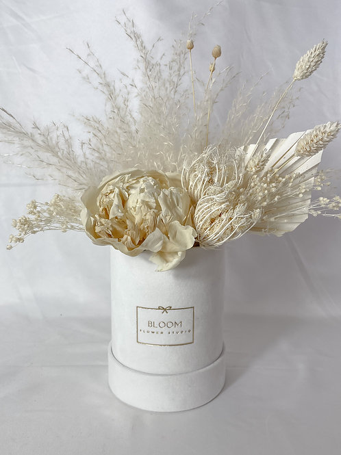 "Dried Flower Box ""White Peony"""