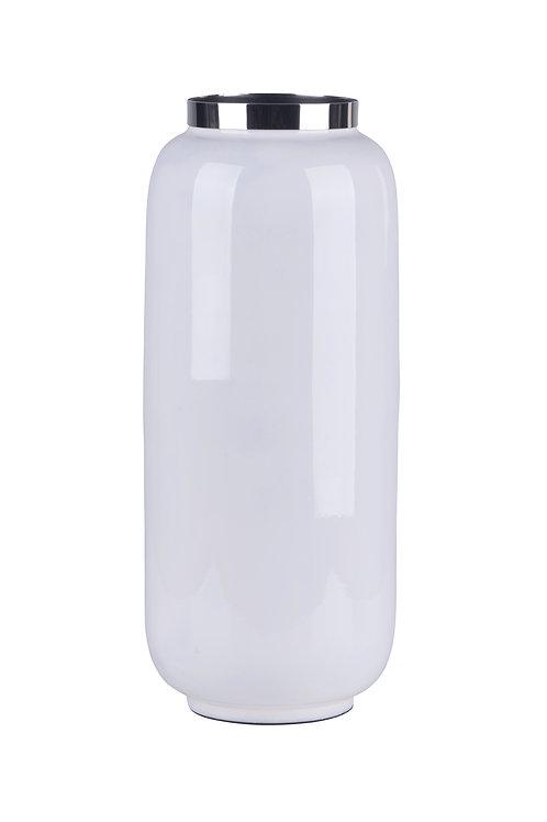 Vase Saigon M weiß/silber