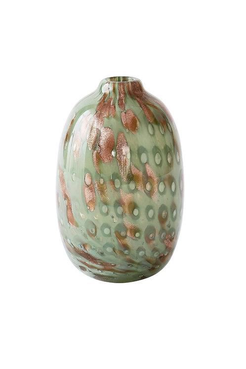 """Vase Linen """"Glitzer Grün"""" oval"""