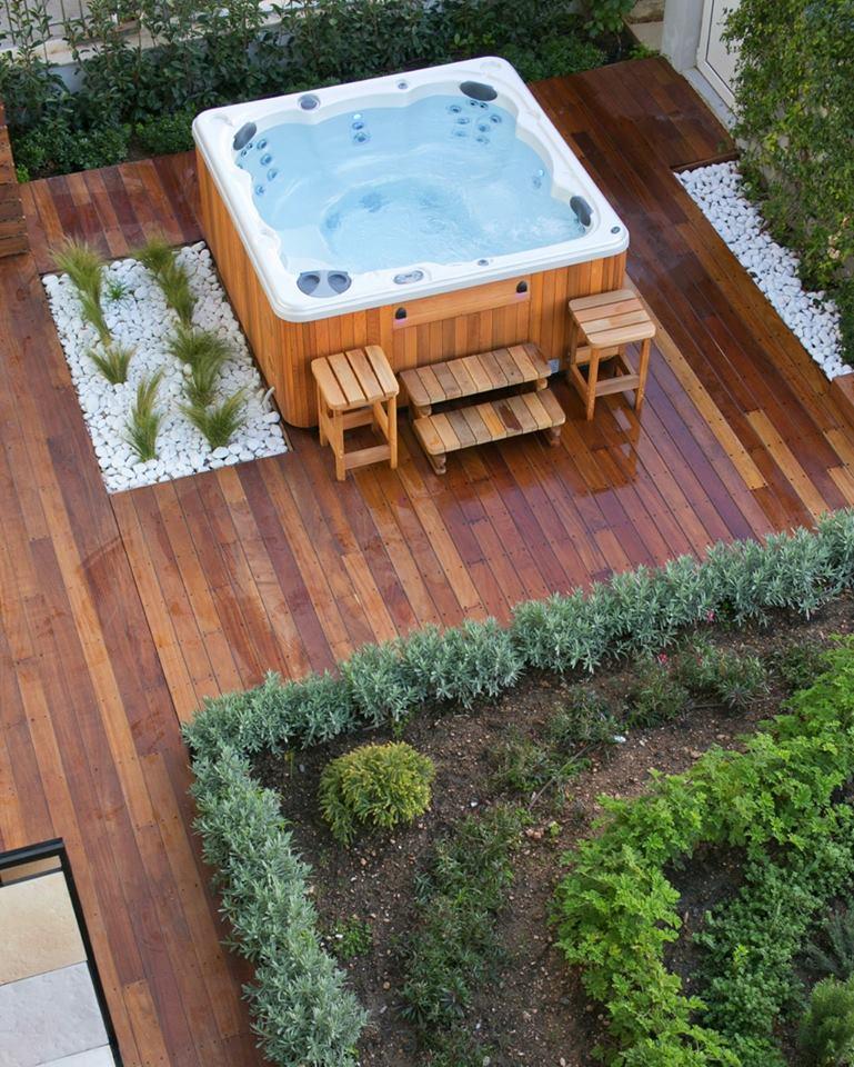 Hydropool Hot Tub with Cedar Cabinet