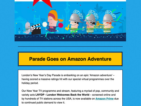 LONDON NEW YEARS DAY PARADE PARTNERS WITH AMAZON!