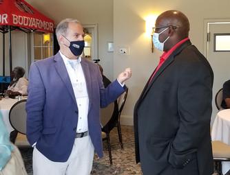 NSMA Giant Dave Goren and WSSU Head Football Coach, Former NFL Star Robert Massey.