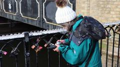 Ruth working on macros of the 'love locks'