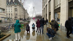 The whole gang taking reflection shots at the London Eye