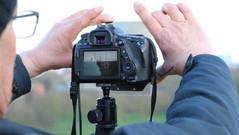 Graham setting up filters for landscape captures up Primrose Hill
