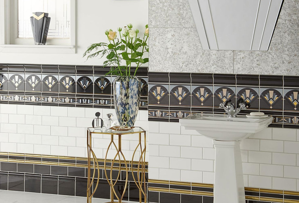 Art Deco Black Fan - Platinum and Gold on Black