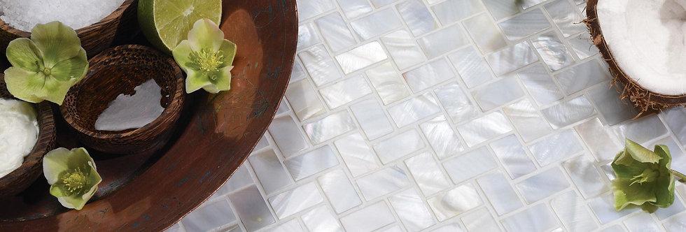 White Pearl Herringbone Shell Mosaic