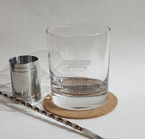 Liverpool Lost Dock Rum Old Fashioned Glass and Coaster