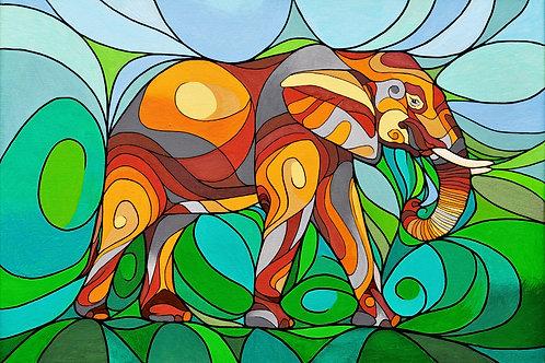 "Elephant Inter-being - 8x11"" canvas print"