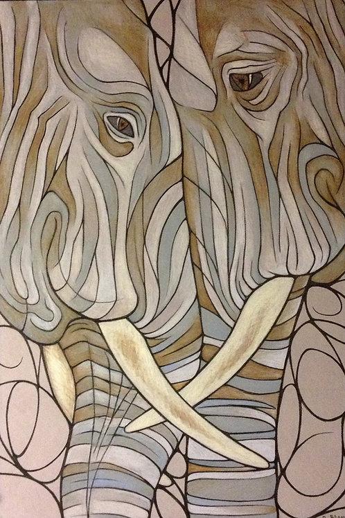 "Elephant Love - 15x10"" canvas print"