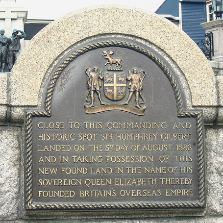 Plaque in St. John's commemorating Gilbert's founding of the British Empire