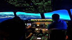 Pilots in a flight simulator
