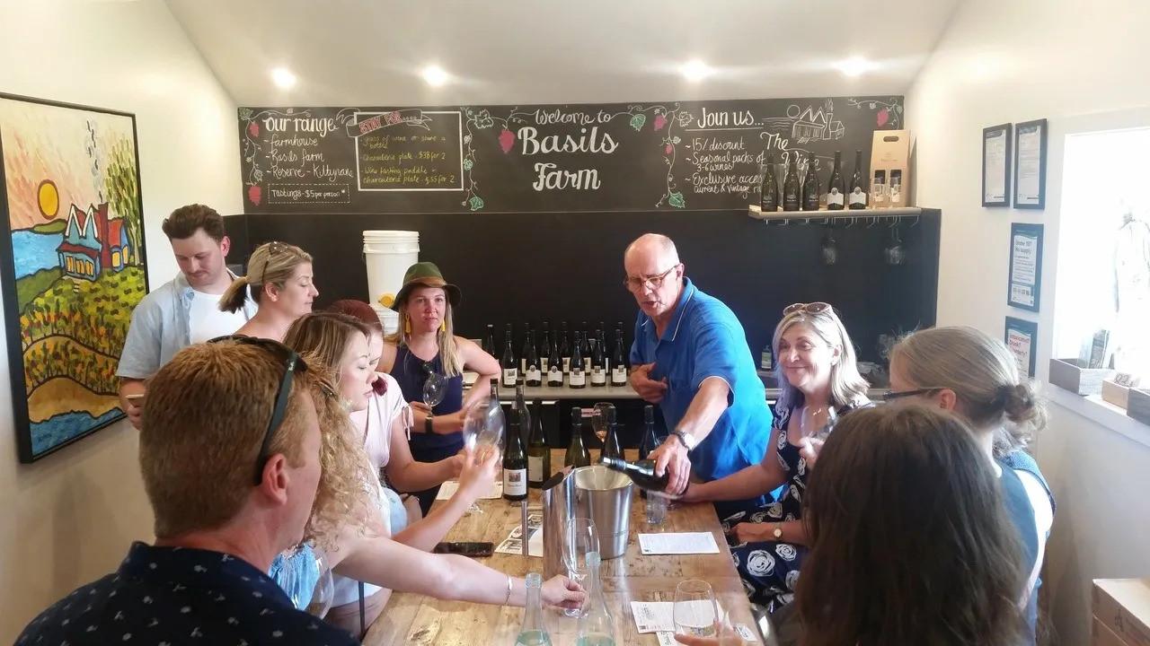 Basils Farm wine tasting on the Bellarine wine tour from Geelong.