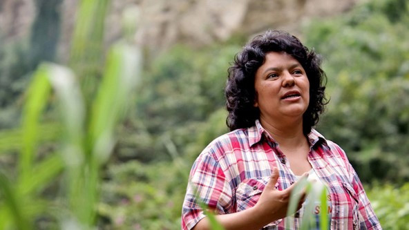 Berta Cáceres on the banks of the Gualcarque River in Honduras. Photo courtesy of Goldman Environmental Prize.