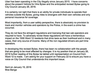 Letter submitted to City of Edmonton, regarding Vehicle for Hire Bylaw