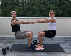 Maria and Kylie working out