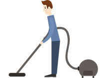 Men vacuum cleaning