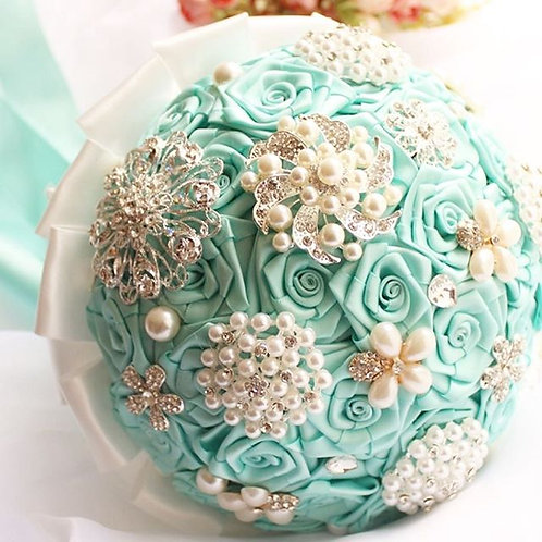 AQUA ROUND RIBBON BROOCH BOUQUET.