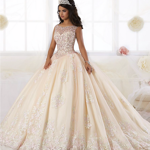 BEADED FLORAL LACE QUINCEANERA DRESS BY HOUSE OF WU 26895