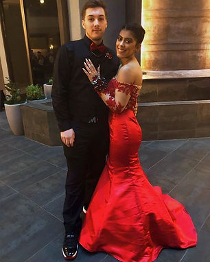 red lace and satin quinceanera dress