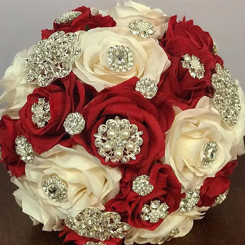 Red & Ivory Silver Brooch Bouquet.