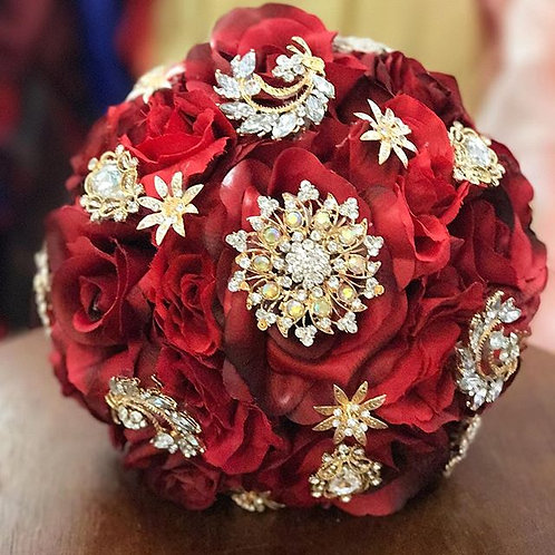 Burgundy and Gold Brooch Bouquet.