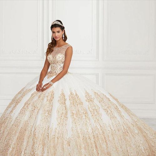 Beaded Illusion Glitter Quinceanera Dress by House of Wu 26941