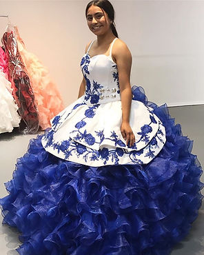 royal blue custom made charro dress