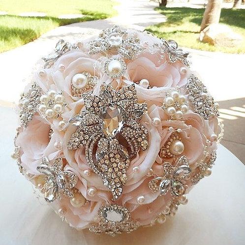 Blush Round Silver & Rose Gold Brooch Bouquet.
