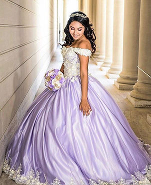 lilac 3D ivory flower lace custom made quinceanera dress