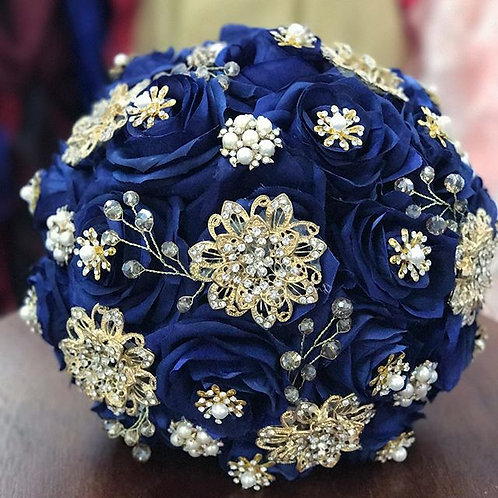 Navy blue with Gold Brooch.