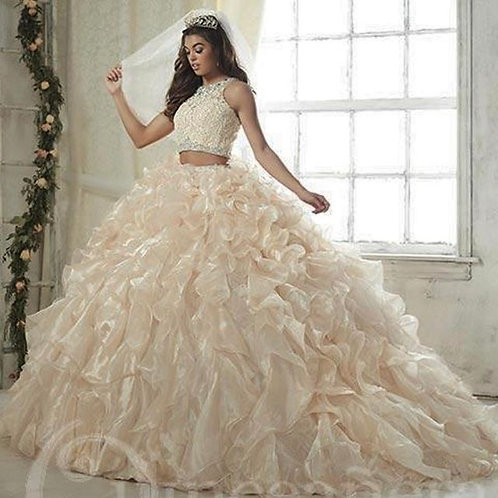 CROP TOP QUINCEANERA DRESS WITH MINI SKIRT BY HOUSE OF WU 26813