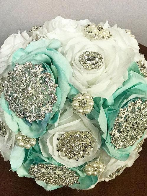 3 Aqua & White Silver Brooch Bouquet.