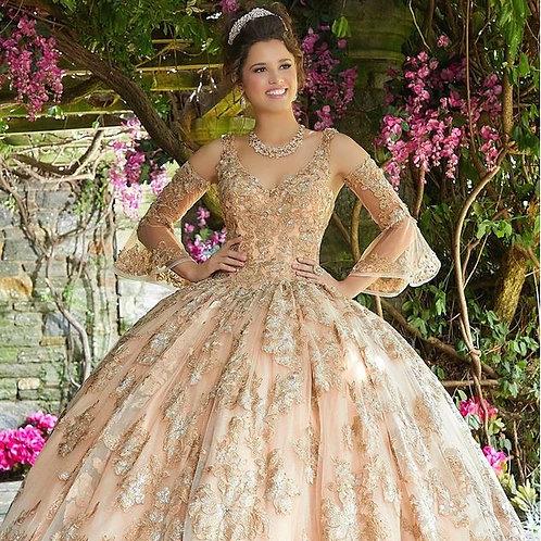 Floral Applique Quinceanera Dress by Mori Lee Vizcaya 89261