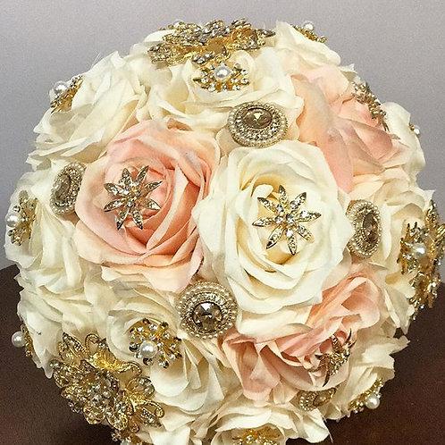 3 Blush & Ivory Gold brooch Bouquet.