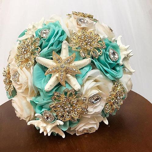 Aqua & Ivory bouquet.