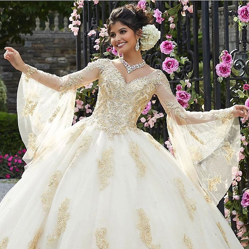 APPLIQUE BELL SLEEVE QUINCEANERA DRESS BY MORI LEE VALENTINA 34021