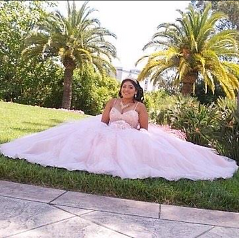 blush beaded tull quinceanera dress