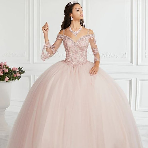 Lace Bell Sleeve Quinceanera Dress by Fiesta Gowns 56385