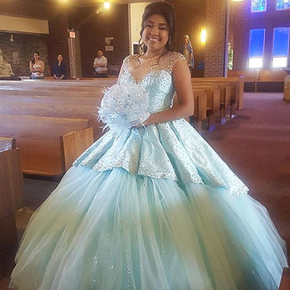 aqua beaded tull quinceanera dress