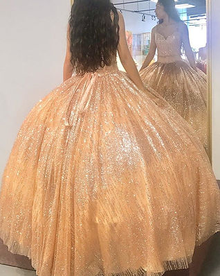 rose gold sparkle quinceanera dress