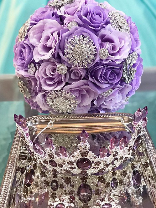Lilac with Silver Brooch.