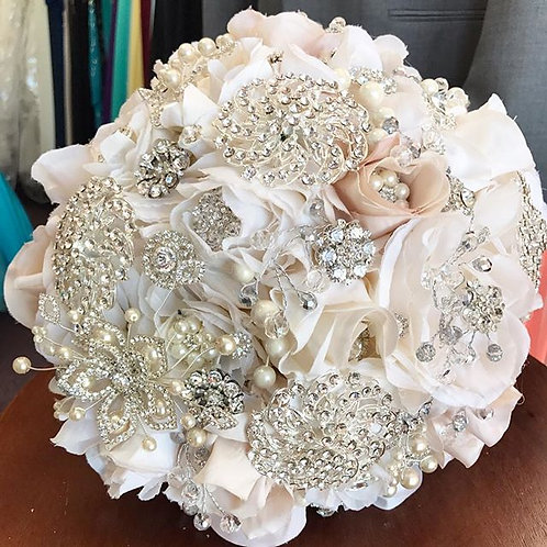 Ivory & Nude Silver Brooch Bouquet.