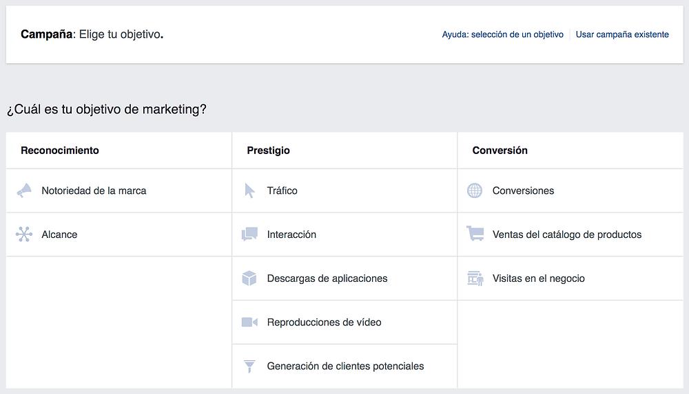 Objetivos Facebook, Campaña Facebook, Publicidad Facebook