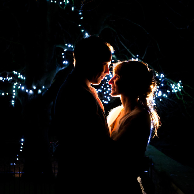 Night photo of bride and grooms
