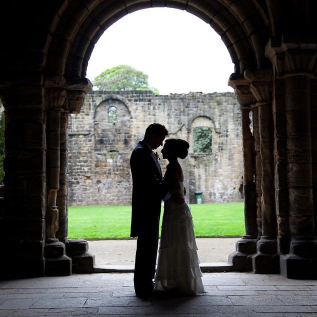 Sillouette bride and groom
